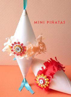 party favors, paper cones, craft, birthday parties, mini pinata, fiesta, crepe paper, kid, cinco de mayo