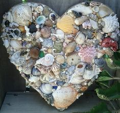 Seashell Covered Heart Shell Decorated Embellished Natural Colored Seashells Bits of Real Coral Barnacles Sea Fan Seaglass Starfish Beach Seashell Art, Seashell Crafts, Beach Crafts, Diy Crafts, Starfish, Rustic Shabby Chic, Pallet Art, Beach House Decor, Beach Art