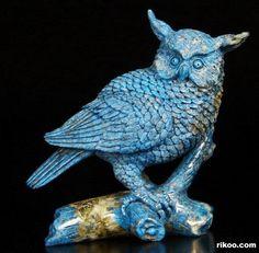 "4.3 "" Carved Lapis Lazuli Owl Sculpture, Stone origin : Afghanistan. Via rikoo.com"