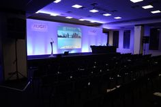 We provided full sound, lighting and AV support for a medical conference in Brighton. Pictured: Pre Show.