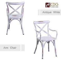 Cross back vintage white metal chairs with arms -- want to relax while having dinner?? then you could choose a dinning chair with arm, right?