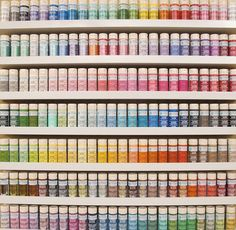 not only do i need the entire martha stewart craft paint collection, i need ikea ribba shelves to hold them Martha Stewart Paint, Martha Stewart Crafts, Craft Paint Storage, Bead Storage, Paper Storage, Paint Color Chart, Color Charts, Paint Colors, Craft Room Organisation