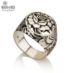 silver Signet Ring Rose flower ,A sterling silver Victorian design ring, Engraved leaves and flowers ring ,Handmade design by DINAR jewelry