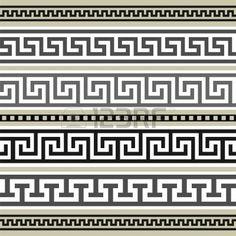 YAY Images - Set of greek geometric borders by ElaK Motifs Aztèques, Greek Pattern, Vector Border, Border Pattern, Greek Art, Ancient Greece, Arm Band Tattoo, Clipart, Art Deco