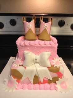 Cowgirl boots baby shower cake