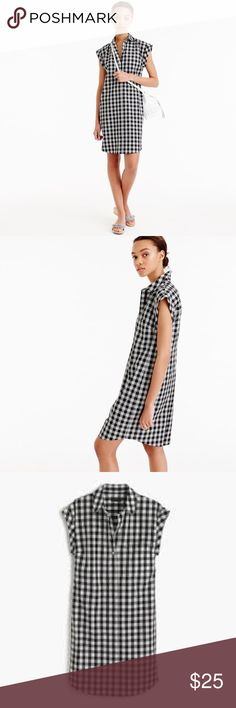 J crew gingham shirt dress Black and white gingham shirtdress. Fitted, worn and washed. Good condition! J. Crew Dresses