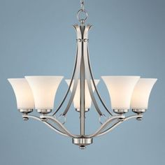Brushed Nickel with White Glass Five-Light Chandelier