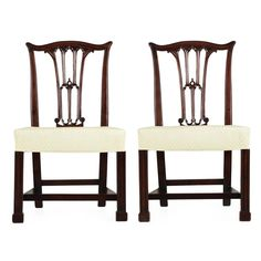 Pair of English Chippendale Mahogany Side Chairs in Gothic Taste, circa 1780