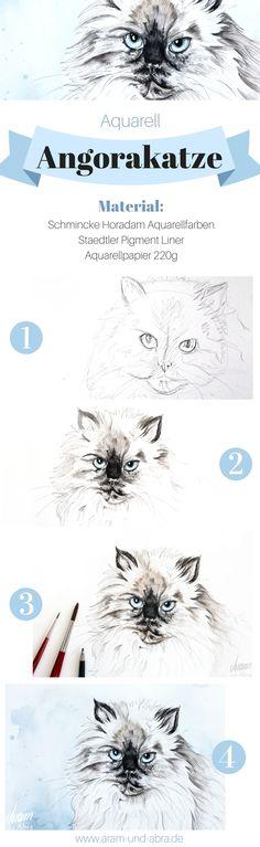 Tutorial Anleitung Zeichnen Malen | Zeichnung Aquarell von Angorakatze Susi. Tierportraits und Illustrationen von Aram und Abra.