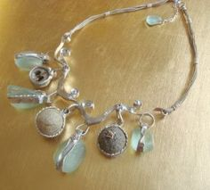 By the Sea. Sea Glass and Driftwood Pods set in Recycled Sterling Silver Necklace.