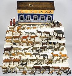 Antique Noah's Ark, 19th Century, Hand Painted, ark and animals