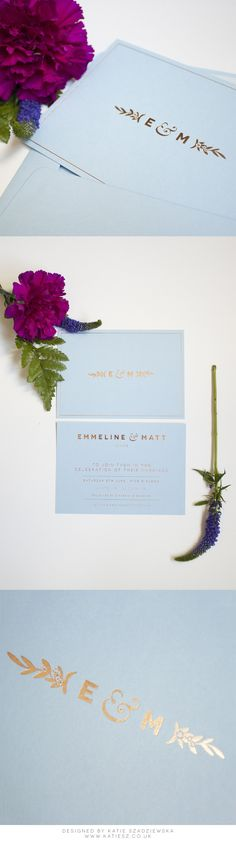Elegant, Minimal & Modern Forget-Me-Not Floral Wedding Invitation. Colorplan Azure Blue with Rose Gold foil.