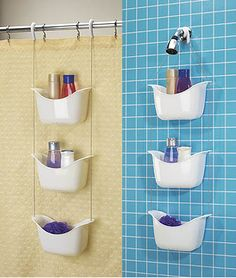Bask shower caddy by Umbra. This should work great in our clawfoot tub since it has no walls for the suction caddies :-)
