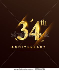 34th anniversary glowing logotype with confetti golden colored isolated on dark background, vector design for greeting card and invitation card.