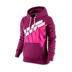 Women's Nike Club Stacked Pullover Hoodie ($30) ❤ liked on Polyvore featuring tops, hoodies, nike, sport, shirts and raspberry red