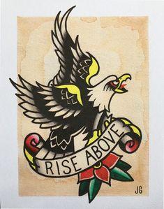 Black Flag Rise Above Tattoo Flash Print #blackflag #tatooflash #traditionaltattoo #eagletattoo #descendents #minorthreat #ramones #henryrollins #hardcorepunk #artprint #tattooprint