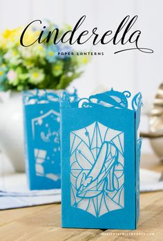 Cinderella Paper Lantern - Designs By Miss Mandee. Make these beautiful lanterns as part of a princess party or wedding decoration. Download the SVG cut file and printable template for FREE! Love the glass slipper!!