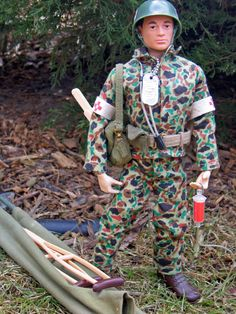 Vintage GI Joe Action Marine, Medic Set, # 7719. I had a dozen or so of these guys. They were great. Cloths and weapons; jeeps and tanks... What a blast.