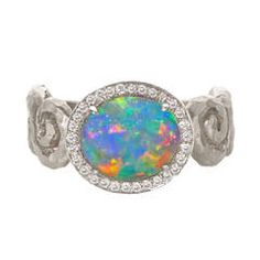 Pamela Froman Lighting Ridge Black Opal Crystal Diamond Gold Fire and Ice Ring