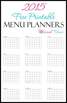 These 2015 Free Printable Menu Planners Calendars are perfect for saving you money and keeping you organized. Easy to write on and fully editable online, you can customize them to your specifications and have a superstar menu plan. Click here to print them!