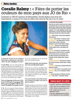 Gros plan sur la der du journal. Interview de Coralie BALMY. Journal de la nouvelle grande Région. Juillet 2016.