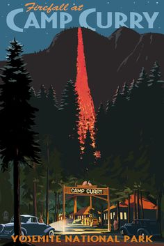 Yosemite Park, CA Firefall Camp Curry - LP Artwork (24x36 Metal Gallery Art)