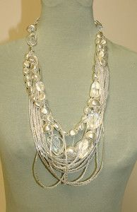 Stunning Silver & Translucent Multi-Strand Beaded Statement Necklace | eBay