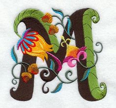 Machine Embroidery Designs at Embroidery Library! - Jacobean Letter M Inch) Embroidery Alphabet, Embroidery Monogram, Embroidery Applique, Machine Embroidery Designs, Bordado Jacobean, Jacobean Embroidery, Bordados E Cia, Illuminated Letters, Needlework