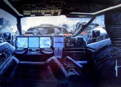 Blade Runner concept art - by Syd Mead. Diesel Punk, Blade Runner Spinner, Syd Mead, Spaceship Interior, Sci Fi Environment, Cyberpunk Art, Science Fiction Art, 3d Max, Retro Futurism