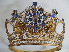 Stunning Vintage Victorian French Large Gilt / Paste Crown / Tiara1860s