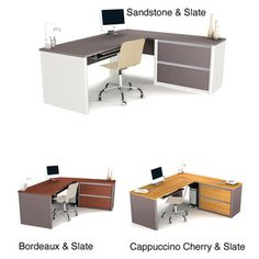 Reception 1 @Overstock - Add style to your office while saving space with this convenient Bestar desk. Several drawers, including two file drawers, help you organize your papers and accessories, and grommets help you manage wires. Choose from three colors to match your office.http://www.overstock.com/Office-Supplies/Bestar-Connexion-L-desk-with-Oversized-Pedestal/5224316/product.html?CID=214117 $529.99