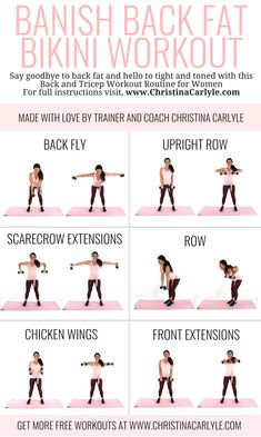 Burn your back fat with this Banish Back fat bikini workout routine for women. G… Burn your back fat with this Banish Back fat bikini workout routine for women. Get full instructions on how to do this workout on the here: www. Bikini Fitness, Bikini Workout, Body Fitness, Health Fitness, Physical Fitness, Workout Capris, Workout Leggings, Back Workout Women, Arm Workouts