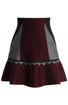 Fun Color Blocks Knitted Skater Skirt - Retro, Indie and Unique Fashion