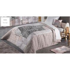 Prikrývka na manželskú posteľ krémovej farby s motívom Safari