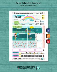 Free Printable Four Seasons {Spring} Planner Stickers from Sepiida Prints