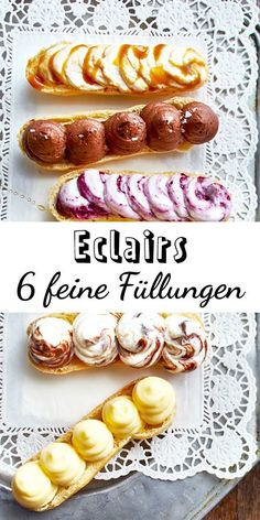 Eclairs - 6 ideas for a delicious filling DELICIOUS - Recipes baking choux pastry eclairs. Because the best thing about eclairs is their creamy filling! Eclairs, Keto Donuts, Baked Donuts, Donuts Donuts, Baking Recipes, Cake Recipes, Dessert Recipes, Dessert Blog, Choux Pastry