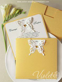 """Aida"" Wedding Invitation - yellow, Violet Handmade Wedding Invitations"
