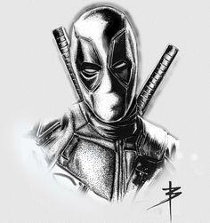 Deadpool dotwork illustration - Sister and Brother Marvel Comic Universe, Marvel Art, Marvel Heroes, Marvel Drawings, Cartoon Drawings, Art Drawings, Deadpool Tattoo, Harley Quinn Drawing, Marvel Tattoos