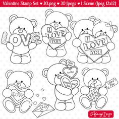 Cute Doodle Art, Cute Doodles, Colouring Pages, Coloring Sheets, Classroom Projects, Craft Projects, Bear Valentines, Graphic Design Projects, Digital Stamps