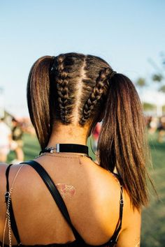 The Biggest Beauty Trends To Copy From Last Year's Coachella double braids into pigtails Coachella Hair, Coachella 2018, Coachella Style, Box Braids Hairstyles, Cool Hairstyles, Festival Hairstyles, Kawaii Hairstyles, Updo Hairstyle, Wedding Hairstyles