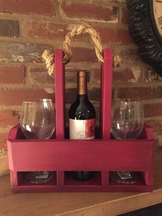 Custom wooden Wine and glass carrier. by TwistedMDesign on Etsy