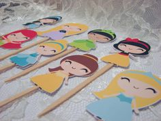 24 Cute Princess Cupcake Toppers / Disney Princess Cupcake Toppers on Etsy, $15.00