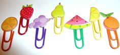 Small Assorted Fruits Paper Clips  set of 7 by niknaxbyArlana, $3.00