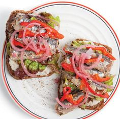 This update on the classic sardine sandwich combines spicy horseradish cream with rich French sardines and pickled onions.