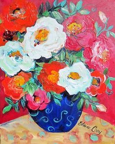 Red is an original painting done by me Elaine Cory. It is on a canvas 16 x 20 x 3/4. The sides are painted like the front. It is wired for immediate hanging or framing.  Testimonials Reviews My third commission with Elaine Cory. Another treasure. The perfect wedding gift for a special couple. She had it to me within two weeks. So grateful to have found this amazing artist. Already have another idea for her!  I ordered several pieces from Elaine. She is very easy to work with. Her paintings…