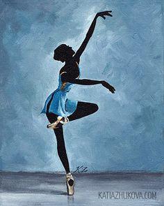Modern Acrylic Canvas Painting | Original Acrylic Painting on Canvas 'Calais' 8x10 Dancer Ballet Modern ...