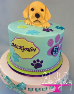 Puppy themed birthday cake, with hand painted gum paste puppy