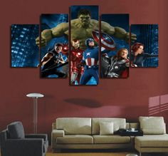 5 Piece Multi Panel Modern Home Decor Framed The Avengers Movie Wall Canvas Art - Octo Treasures - 2