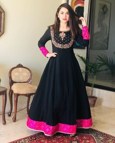 Items similar to Black colore Wedding wear long gown mexi gown party wear gown anarkali gown Pakistani style dress embroidery work gown on Etsy Anarkali Gown, Red Lehenga, Bridal Lehenga, Anarkali Suits, Pakistani Bridal, Pakistani Dresses, Indian Dresses, Pakistani Clothing, Gown Party Wear