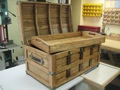 Steamer Trunk Plan - Rockler Woodworking Tools....cool.  Very nautical.